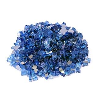 """Cobalt Blue 1/2"""" Reflective Fireglass - 10 lb bag"""