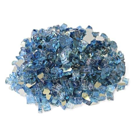 "Pacific Blue 1/2"" Reflective Fireglass - 10 lb bag"
