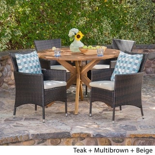 Cedros Outdoor 5 Piece Wicker Dining Set with Dining Table by Christopher Knight Home