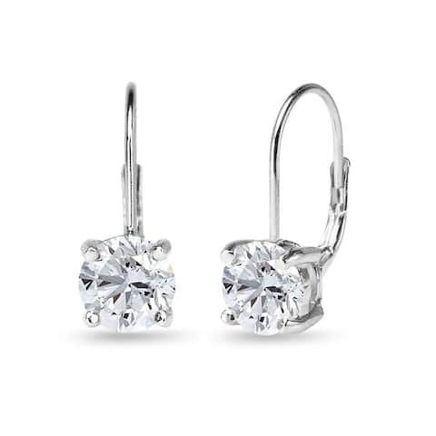 Glitzy Rocks Dainty 7mm Round Created White Sapphire Leverback Earrings in Sterling Silver