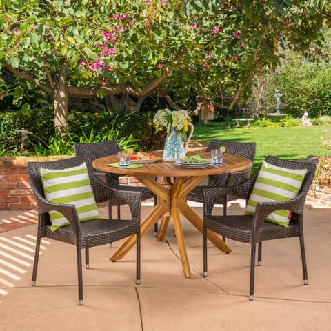 Natividad Outdoor 5 Piece Multibrown (PE) Wicker Dining Set with Dining Table by Christopher Knight Home