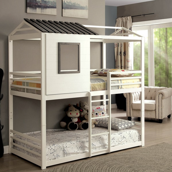 Beautiful Furniture Of America Scouter Cottage Style White Twin Over Twin Bunk Bed
