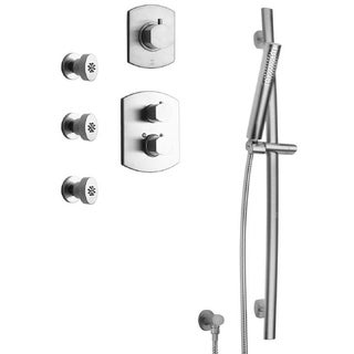 """LaToscana Novello Thermostatic Shower With 3/4"""" Ceramic Disc Volume Control, 3-Way Diverter, Slide Bar and 3 Body Jets"""