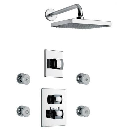 """LaToscana Lady Thermostatic Shower With 3/4"""" Ceramic Disc Volume Control, 3-Way Diverter and 4 Body Jets"""