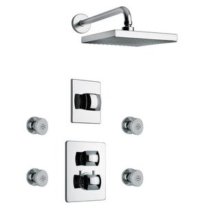 """LaToscana Lady Thermostatic Shower With 3/4"""" Ceramic Disc Volume Control, 3-Way Diverter and 4 Body Jets (2 options available)"""