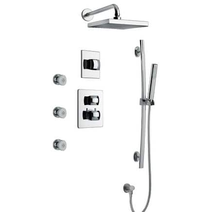 """LaToscana Lady Thermostatic Shower With 3/4"""" Ceramic Disc Volume Control, 3-Way Diverter, Slide Bar and 3 Body Jets"""