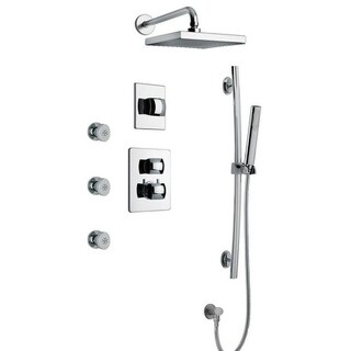 """LaToscana Lady Thermostatic Shower With 3/4"""" Ceramic Disc Volume Control, 3-Way Diverter, Slide Bar and 3 Body Jets (2 options available)"""