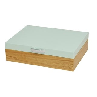 Hi-Gloss finish two tones Jewelry Box with Blue lid and wooden texture body. ( Small Blue)