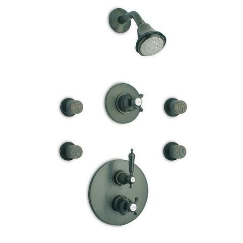 """LaToscana Ornellaia Thermostatic Shower With 3/4"""" Ceramic Disc Volume Control, 3-Way Diverter and 4 Body Jets"""