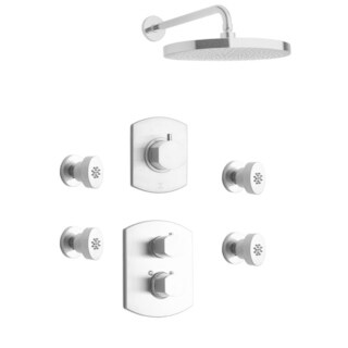 """LaToscana Novello Thermostatic Shower With 3/4"""" Ceramic Disc Volume Control, 3-Way Diverter and 4 Body Jets"""