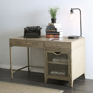 Furniture of America Beltran Industrial Style Metal Writing Desk (Option: Distressed Ivory)