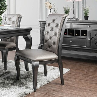 Furniture of America Mora Tufted Grey Leatherette Dining Chairs (Set of 2)