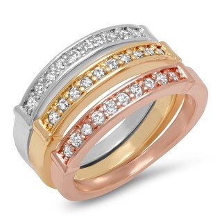 Piatella Ladies Set of 3 Tri-Colored Brass Cubic Zirconia Band Rings (4 options available)
