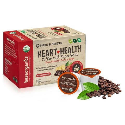 BareOrganics Heart Health Coffee with Superfoods Keurig K-Cup Compatible (12 Single Serve Cups)