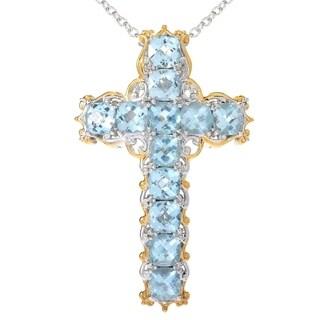 Michael Valitutti Palladium Silver Sky Blue Topaz Cross Pendant
