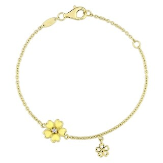 Miadora Yellow Plated Sterling Silver Children's Yellow Enamel White Topaz Flower Charm Bracelet (6 inches + 1 inch extender)