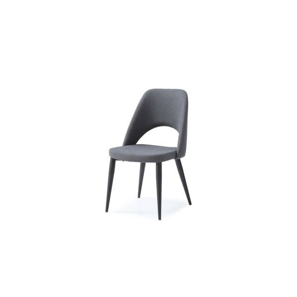 Whiteline Imports Audrey Dining Chair Navy Blue With Powder Coated Metal Legs In Matte Black Set Of Two Overstock 21177138