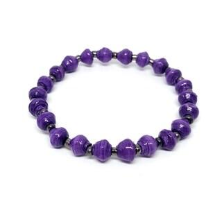 Handmade Recycled Paper Bead Tino Bracelet Purple Silver (Uganda)