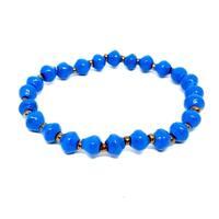 Handmade Recycled Paper Bead Tino Bracelet Medium Blue Gold (Uganda)