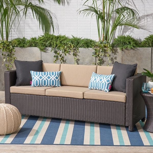 Puerta Outdoor (PE) Wicker 3 Seater Sofa by Christopher Knight Home. Opens flyout.