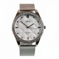 Ashley Princess Luxury Ladies Silver Steel Mesh with Fancy Quilt Design dial with Beautiful Stones decorating trim