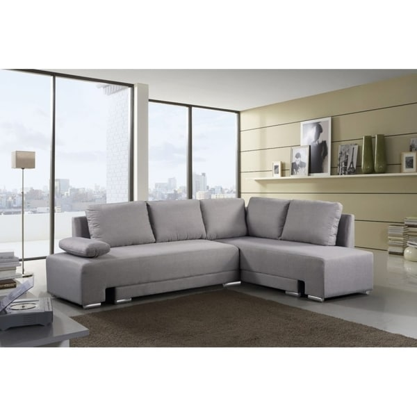 Shop Gray Sectional Convertible Sleeper Sofa - VILLARS ...
