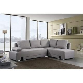Gray Sectional Convertible Sleeper Sofa - VILLARS
