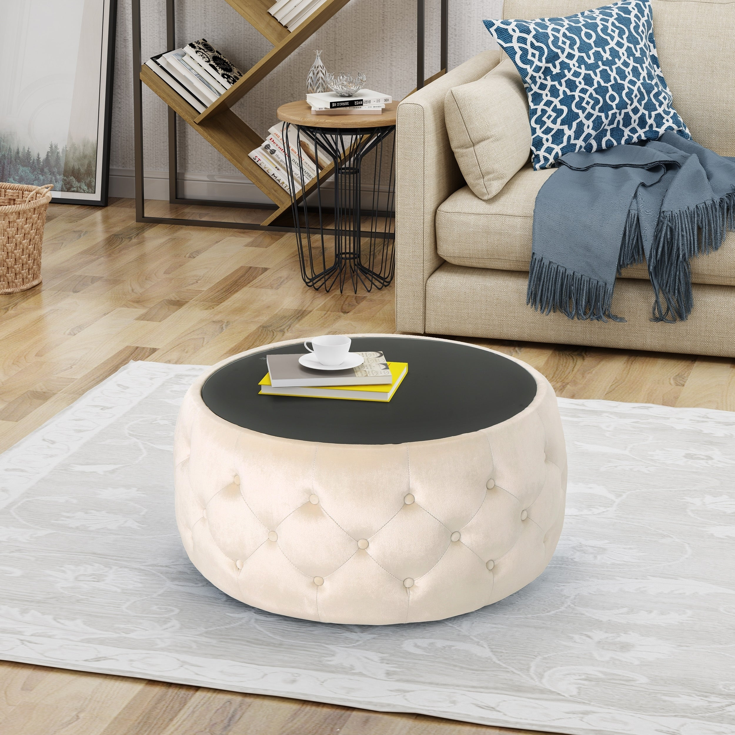 Details About Chana Glam Velvet And Tempered Glass Coffee Table Ottoman By  N/A