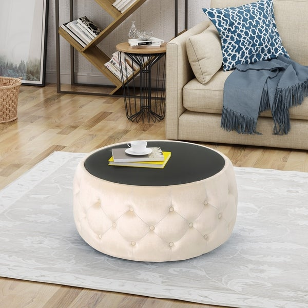 Shop Chana Glam Velvet And Tempered Glass Coffee Table