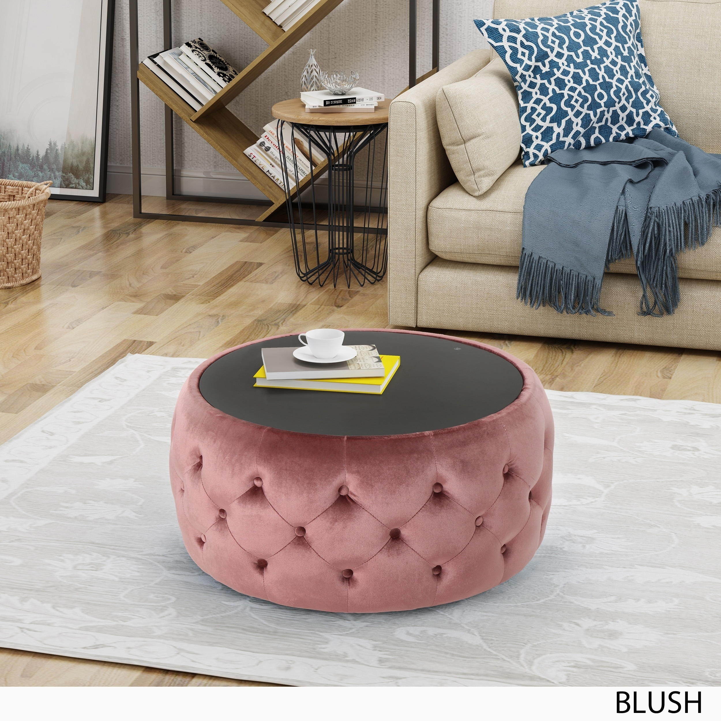 Chana Glam Velvet And Tempered Glass Coffee Table Ottoman