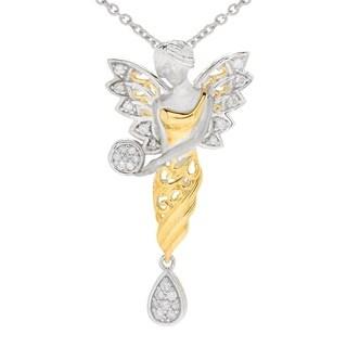Michael Valitutti Palladium Silver Diamond Fairy Dangle Pendant