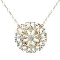 Michael Valitutti Palladium Silver Diamond Medallion Necklace