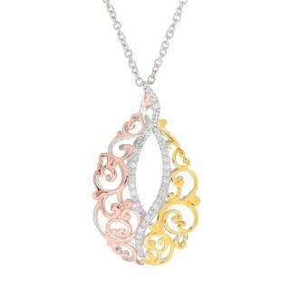 Michael Valitutti Palladium Silver Diamond Tri-Color North & South Pendant