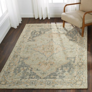 Hand-hooked Traditional Seafoam Green Mosaic Wool Rug - 5' x 7'6