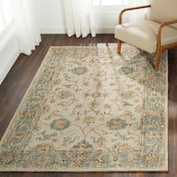 Hand-hooked Traditional Ivory/ Taupe Mosaic Wool Rug - 5' x 7'6