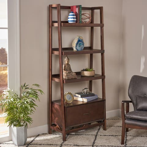 Brantly Mid-Century Modern 4 Shelf Faux Wood Bookcase with Storage Drawer by Christopher Knight Home
