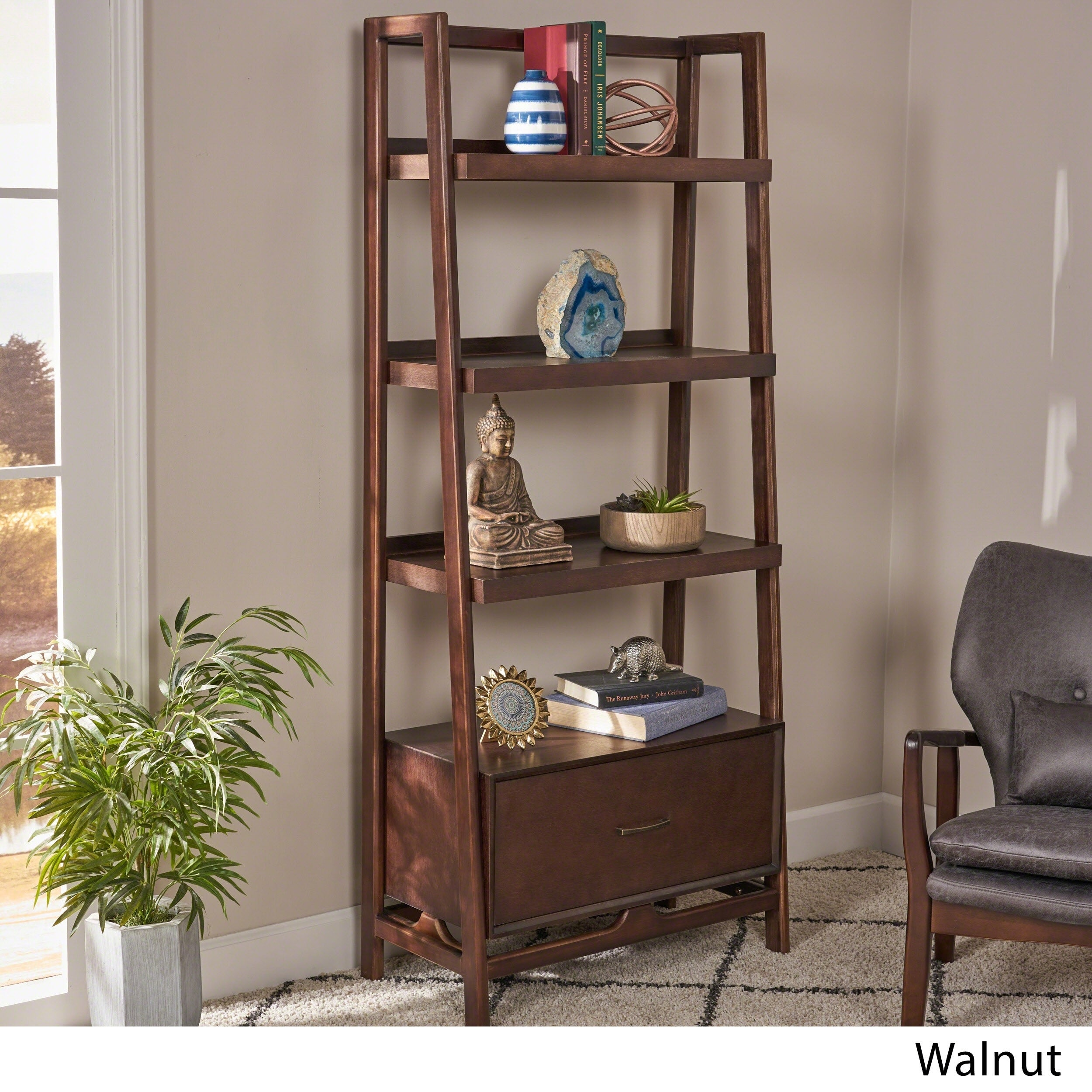 Brantly Mid Century Modern 4 Shelf Faux Wood Bookcase With Storage Drawer By Christopher Knight Home N A