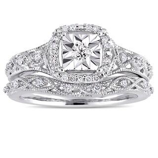 Miadora Sterling Silver 1/5ct TDW Diamond Halo Infinity Bridal Ring Set