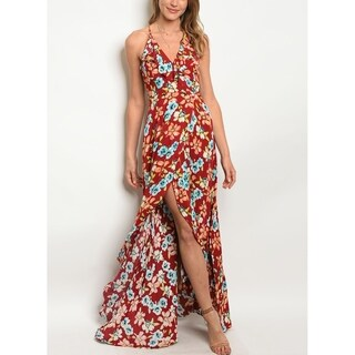 JED Women's Ruffled Sleeveless Floral Maxi Dress
