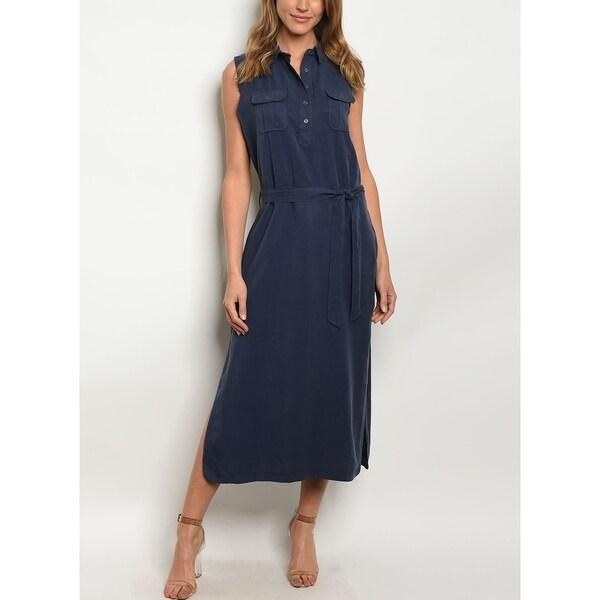 JED Women's Sleeveess Navy Midi Dress with Waist Tie