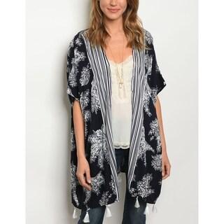 JED Women's Paisley Print Loose Fit Kimono Cardigan Tunic