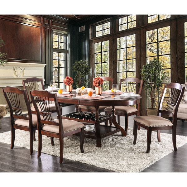 Furniture Of America Piper Traditional Oval Brown Cherry Dining Table With  Leaf   Cherry Brown