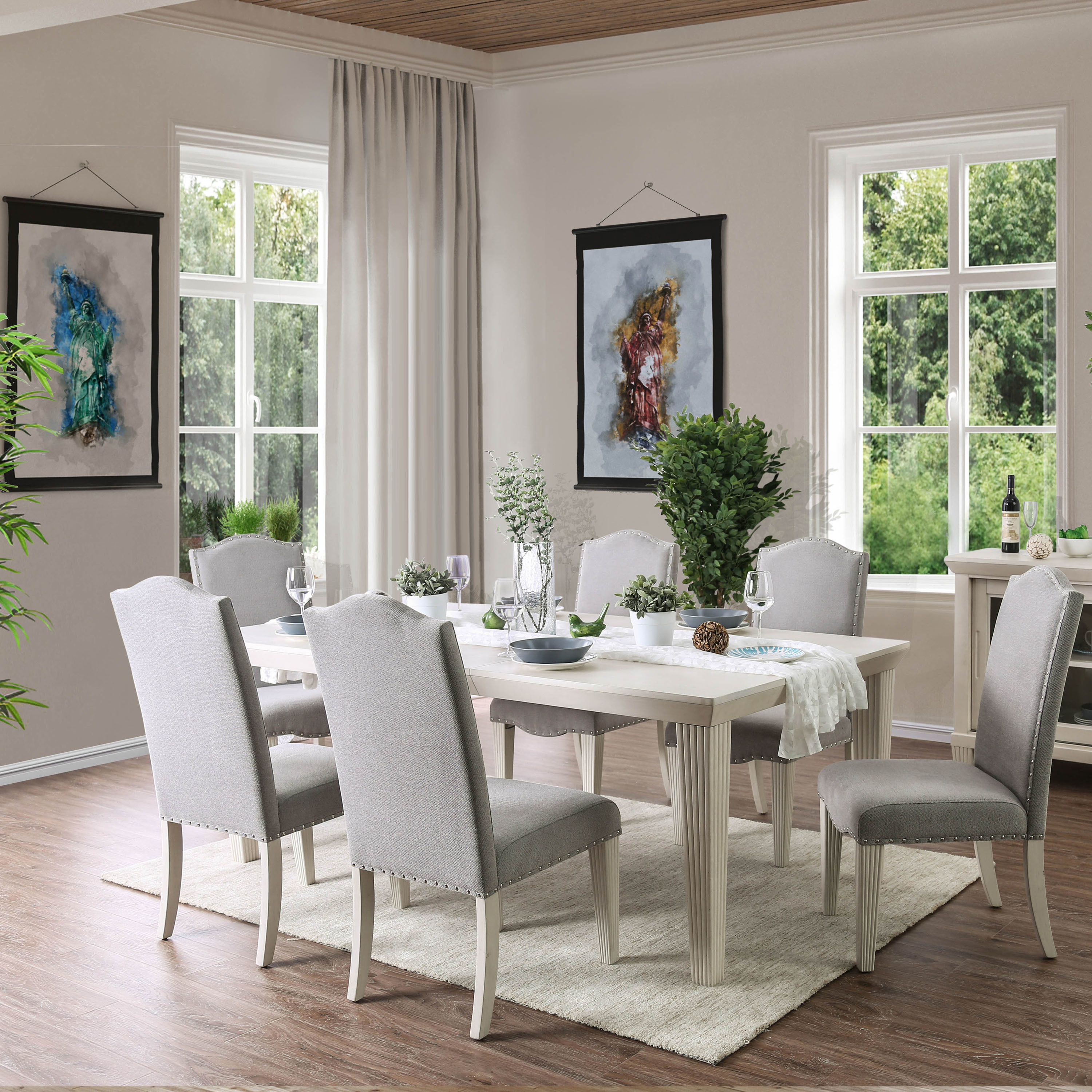 Torrey Contemporary Antique White 7-piece Fluted Dining Set by FOA