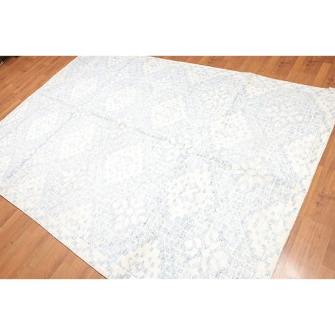 Shabby Chic Glamour Hand-Knotted Oriental Area Rug - Ivory/Blue - 6' x 9' - 6' x 9'