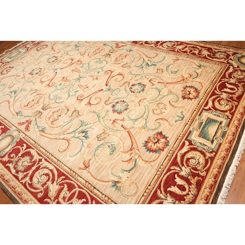 Classic French Savonnerie Full Pile Hand-Knotted Area Rug - Beige/Tan - 9' x 12' - 9' x 12'