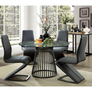 Furniture of America Byron Modern Round 48-inch Glass Top Dining Table - Black