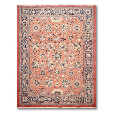 "Traditional Sarouk Hand-Knotted Oriental Area Rug - Salmon/Navy - 8'8"" x 12'4"""