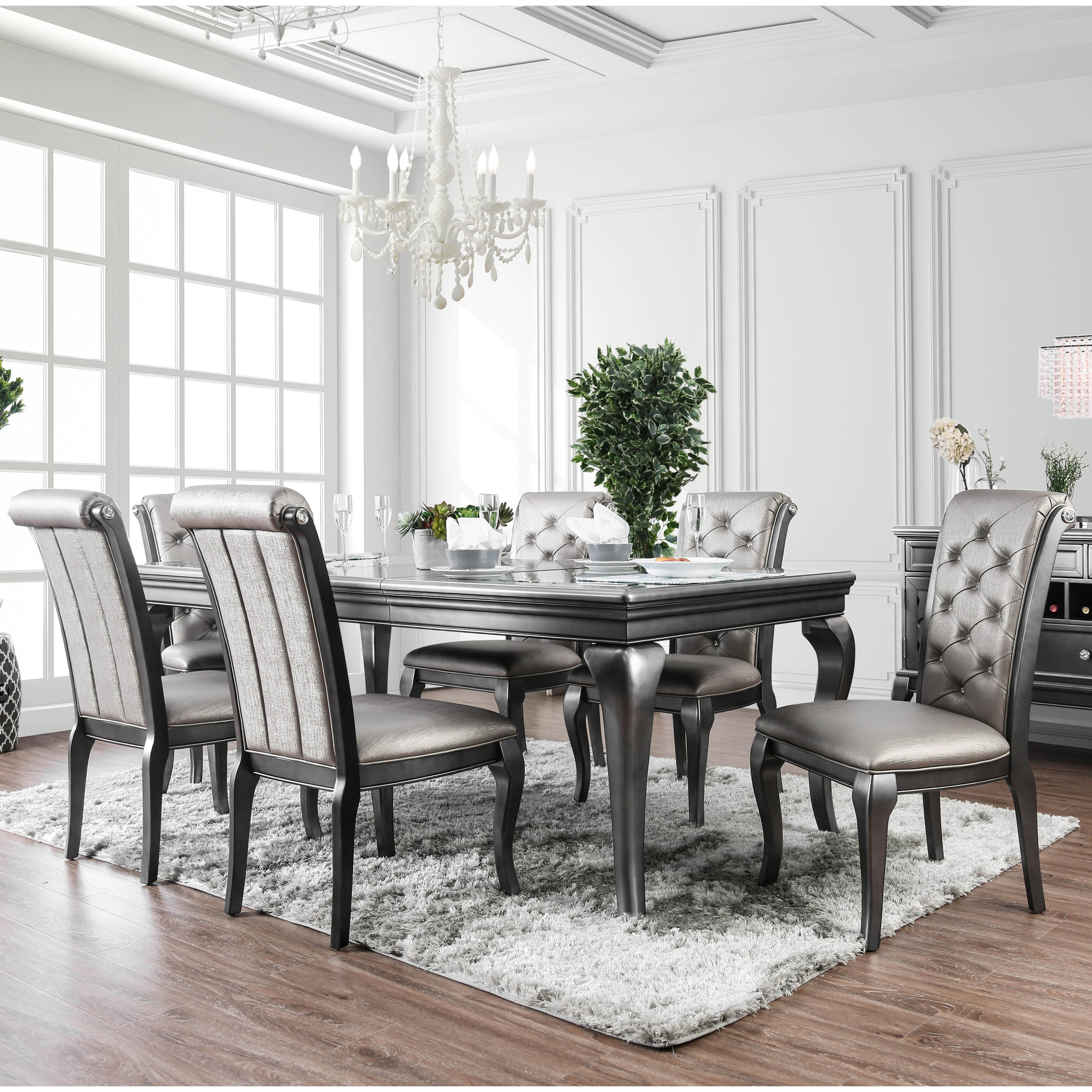 Furniture of America Mora Glam Silver Solid Wood 7-piece Dining Set