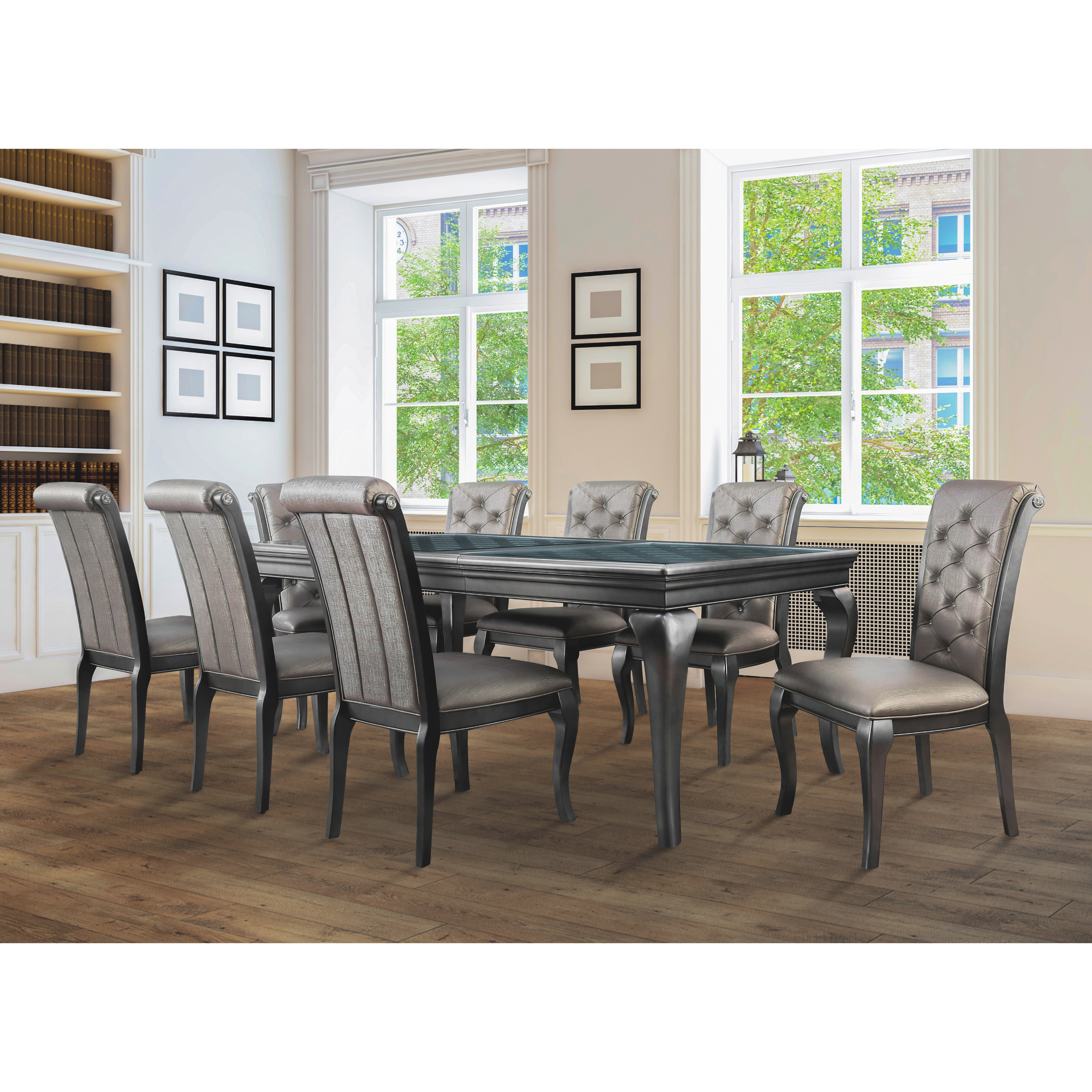 Furniture of America Mora Glam Silver Solid Wood 9 piece Dining Set