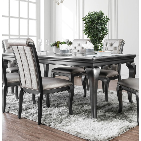 0ef84e17d2 Furniture of America Valencia Glam Silver Grey Dining Table with Leaf